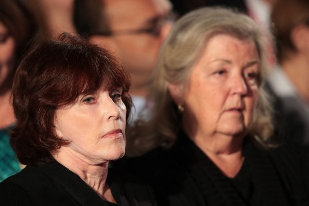 ST LOUIS, MO - OCTOBER 09: (L-R) Kathleen Willey and Juanita Broaddrick sit before the town hall debate at Washington University on October 9, 2016 in St Louis, Missouri. This is the second of three presidential debates scheduled prior to the November 8th election. (Photo by Scott Olson/Getty Images)