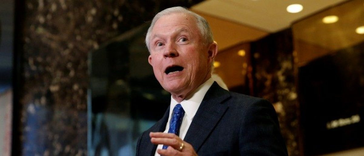 U.S. Senator Jeff Sessions (R-AL), an advisor to U.S. President Elect Donald Trump, speaks to members of the Media in the lobby of Trump Tower in the Manhattan borough of New York City, New York November 17, 2016. REUTERS/Mike Segar/File Photo