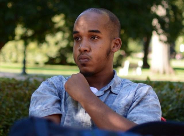 Abdul Razak Artan, a third-year student in logistics management, sits on the Oval in an August 2016 photo provided by The Lantern, student newspaper of Ohio State University in Columbus, Ohio. Courtesy of Kevin Stankiewicz for The Lantern/Handout via REUTERS