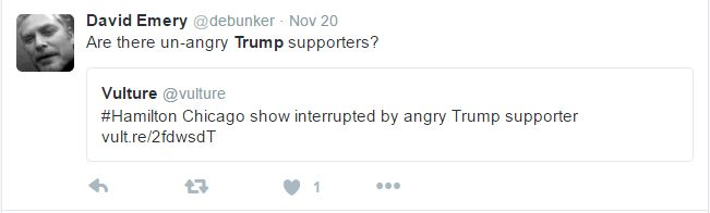 Snopes fact-checker stereotypes Donald Trump supporters as angry (Screenshot/Twitter)