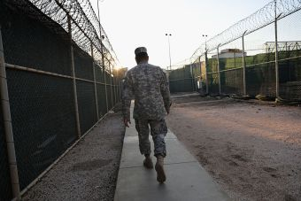 A guard walks into the max security 'Gitmo' detention center (Getty Images)