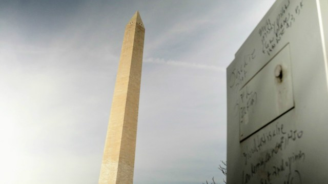 The Washington Monument can be seen from the utility box where bizarre conspiracy theories were written on a utility box: Ted Goodman/TheDCNF