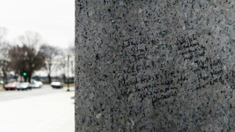 The culprit defaced the side of the WWII Memorial: Ted Goodman/TheDCNF
