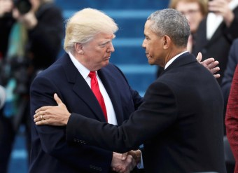 FILE -- President Barack Obama greets President elect Donald Trump at inauguration ceremonies swearing in Donald Trump as the 45th president of the United States on the West front of the U.S. Capitol in Washington, January 20, 2017. REUTERS/Carlos Barria