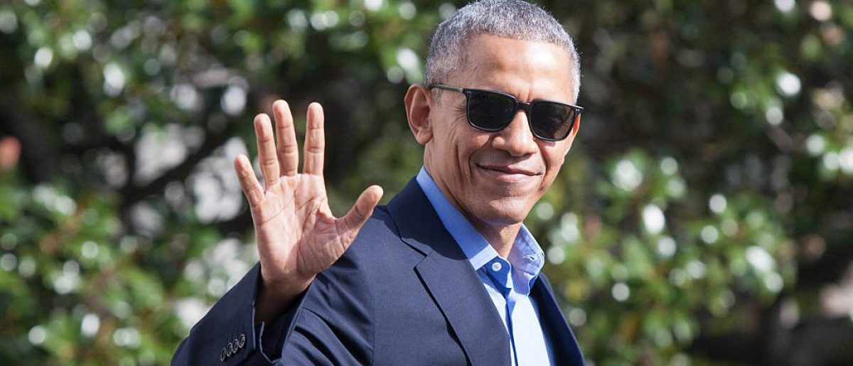 President Barack Obama waves as he exits the White House before boarding Marine One on November 6, 2016 in Washington, D.C.  (Photo by Zach Gibson/Getty Images)