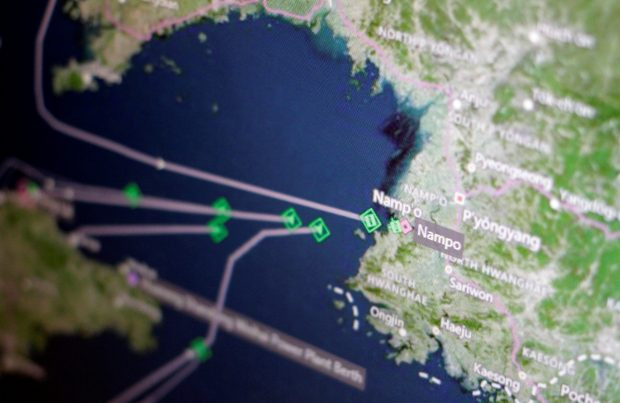 A Thomson Reuters Eikon ship-tracking screen shows cargo ships returning to Nampo port in North Korea April 11, 2017. REUTERS/Thomas White/Illustration