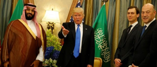 President Trump, flanked by White House senior advisor Jared Kushner and chief economic advisor Gary Cohn, delivers remarks to reporters after meeting with Saudi Arabia's Deputy Crown Prince and Minister of Defense Mohammed bin Salman (L) at the Ritz Carlton Hotel in Riyadh. REUTERS/Jonathan Ernst