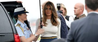 PHOTOS: Who Needs A Dress? Melania's Shirt-Pants Combo Knocks 'Em Dead In Jersey
