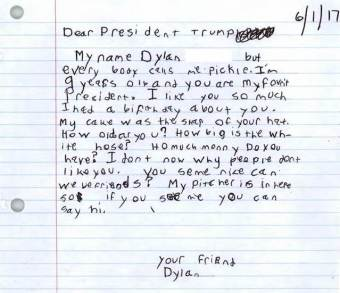 Letter to President Donald Trump from 9-year-old Dylan (photo: White House)
