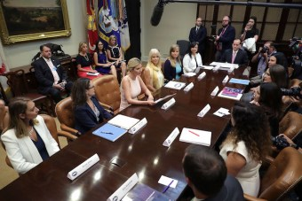 WASHINGTON, DC - AUGUST 02: Assistant to the President and Donlad Trump's daughter Ivanka Trump (C) delivers opening remarks while hosting a listening session with military spouses with Counselor to the President Kellyanne Conway in the Rooselvelt Room at the White House August 2, 2017 in Washington, DC. The military spouses said the choose professions that they can practice no matter where their partners are stationed but that licencing and certification continues to be a challenge when moving to a new post. (Photo by Chip Somodevilla/Getty Images)