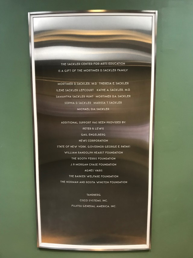 A plaque listing the names of the Mortimer D. Sackler family at the Guggenheim Museum in New York City (DCNF/Ethan Barton)