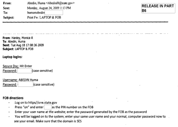 Huma sends laptop password to Yahoo / Source: State Department