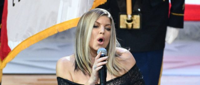 Singer Fergie sings the national anthem prior to  The 67th NBA All-Star Game: Team LeBron Vs. Team Stephen at Staples Center on February 18, 2018 in Los Angeles. (Photo by Allen Berezovsky/Getty Images)