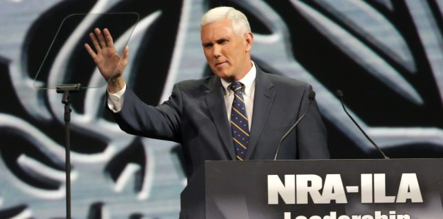 INDIANAPOLIS, IN - APRIL 25: Indiana Governor Mike Pence speaks during the National Rifle Association Annual Meeting Leadership Forum on April 25, 2014 in Indianapolis, Indiana. The NRA annual meeting runs from April 25-27. (Photo by John Gress/Getty Images)