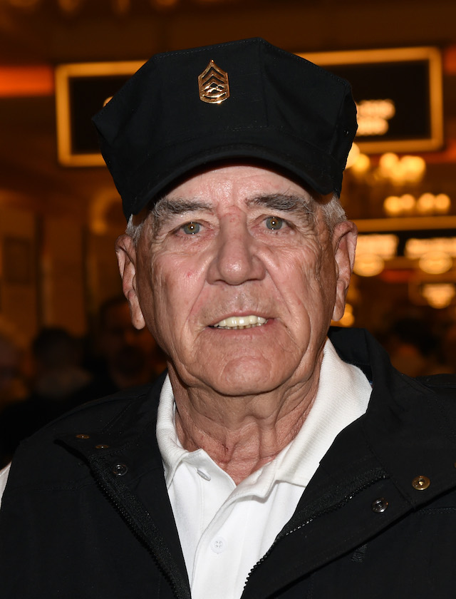 LAS VEGAS, NV - JANUARY 19: Actor, television personality and former U.S. Marine Corps gunnery sergeant R. Lee Ermey attends the 2016 National Shooting Sports Foundation's Shooting, Hunting, Outdoor Trade (SHOT) Show to promote his Outdoor Channel show