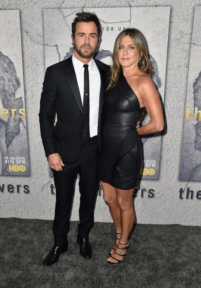 """Actors Justin Theroux and Jennifer Aniston attend the premiere of HBO's """"The Leftovers"""" Season 3 at Avalon Hollywood on April 4, 2017 in Los Angeles, California. (Photo by Alberto E. Rodriguez/Getty Images)"""
