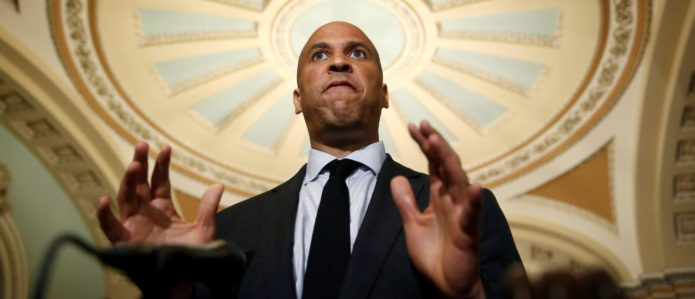 Senator Cory Booker (D-NJ) speaks after the Democratic policy lunch on Capitol Hill in Washington, U.S., July 10, 2018. REUTERS/Joshua Roberts
