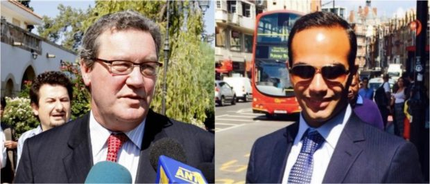 Pictured is Alexander Downer (Left, via Reuters) and George Papadopoulos. (Right, via LinkedIn)