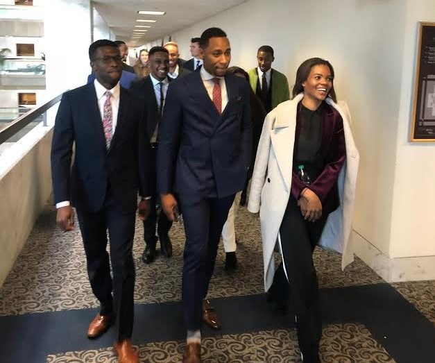 Candace Owens leads a group of African-American conservatives in the Hart Senate Office Building on Wednesday, Nov. 28