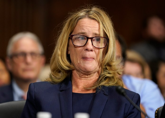 WASHINGTON, DC - SEPTEMBER 27: Christine Blasey Ford testifies before the U.S. Senate Judiciary Committee at the Dirksen Senate Office Building on Capitol Hill September 27, 2018 in Washington, DC. Blasey Ford, a professor at Palo Alto University and a research psychologist at the Stanford University School of Medicine, has accused Supreme Court nominee Brett Kavanaughof sexually assaulting her during a party in 1982 when they were high school students in suburban Maryland. (Photo by Andrew Harnik-Pool/Getty Images)
