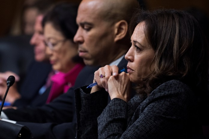 (L to R) Sens. Mazie Hirono, Cory Booker, and Sen. Kamala Harris listen as Dr. Christine Blasey Ford testifies before the Senate Judiciary Committee. Tom Williams/pool via REUTERS