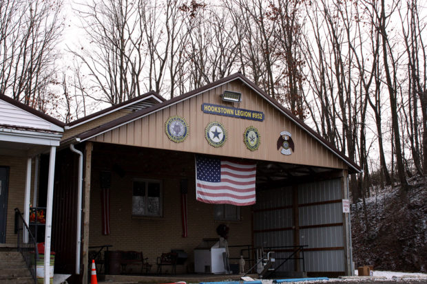 Snow falls outside American Legion Post 952 in Hookstown, Beaver County, Pennsylvania on Dec. 5, 2018. (Will Racke/TheDCNF)