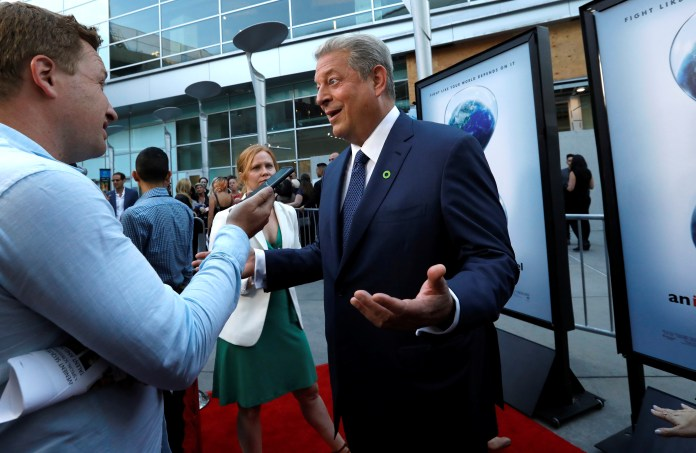 """Former U.S. Vice President Gore is interviewed at a screening for """"An Inconvenient Sequel: Truth to Power"""" in Los Angeles"""