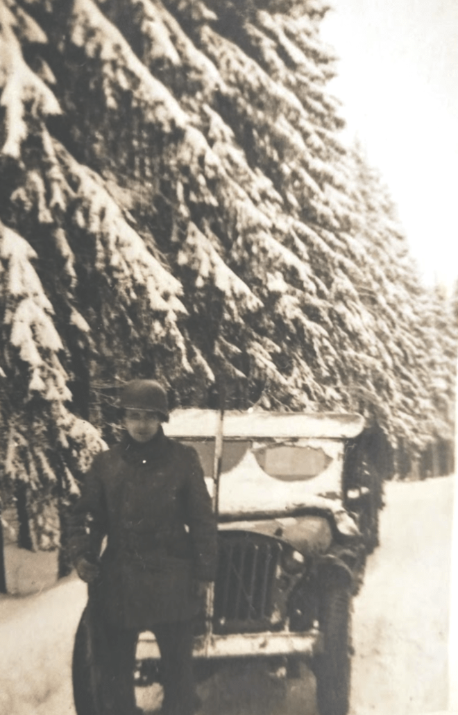 An American soldier stands by his jeep at the Battle of the Bulge, 1944. Virginia Kruta/The Daily Caller