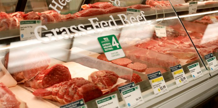 Grass-fed beef products are pictured at a Whole Foods Market in Pasadena