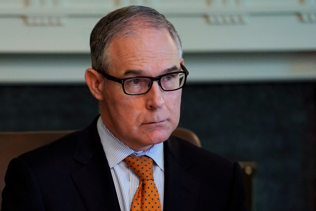 EPA Administrator Scott Pruitt listens during cabinet meeting at the White House in Washington