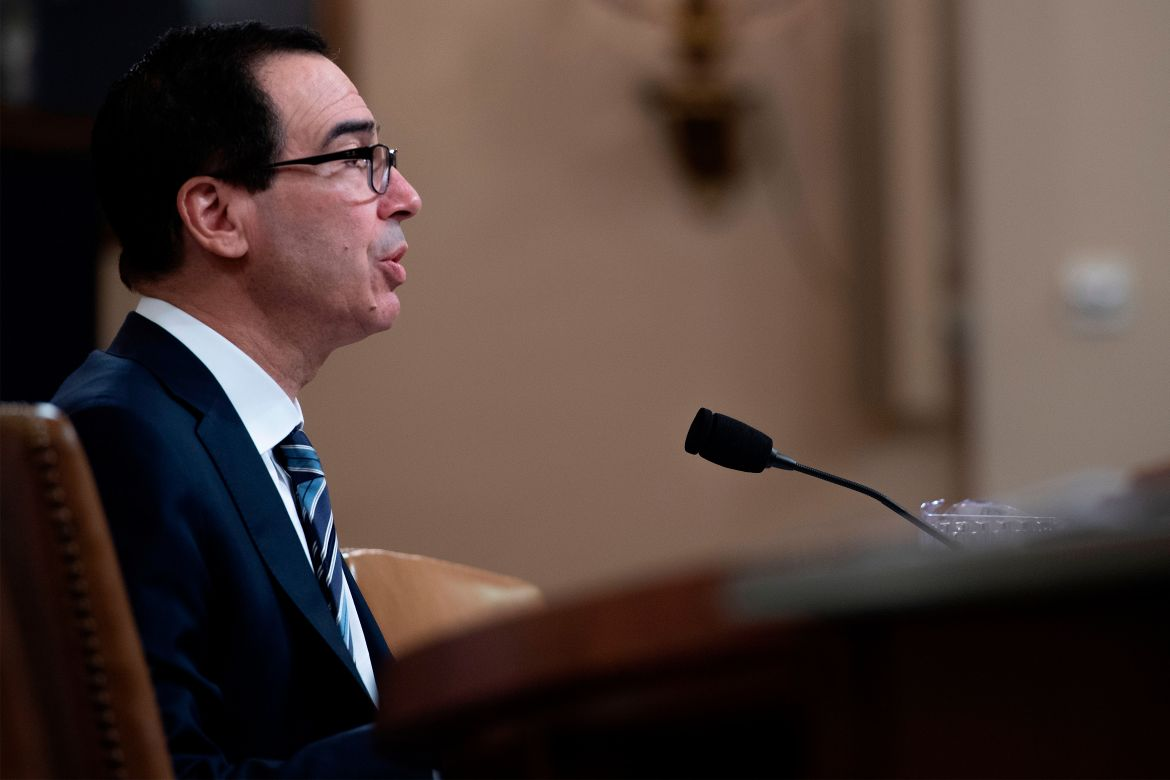 "US Treasury Secretary Steven Mnuchin testifies on ""The President's FY2020 Budget Proposal"" before the House Ways and Means Committee on Capitol Hill in Washington, DC, on March 14, 2019. (Photo by Jim WATSON / AFP) (Photo credit should read JIM WATSON/AFP/Getty Images)"