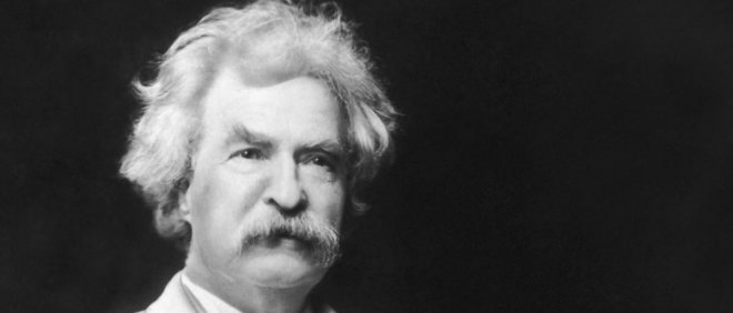 black and white photo of Mark Twain