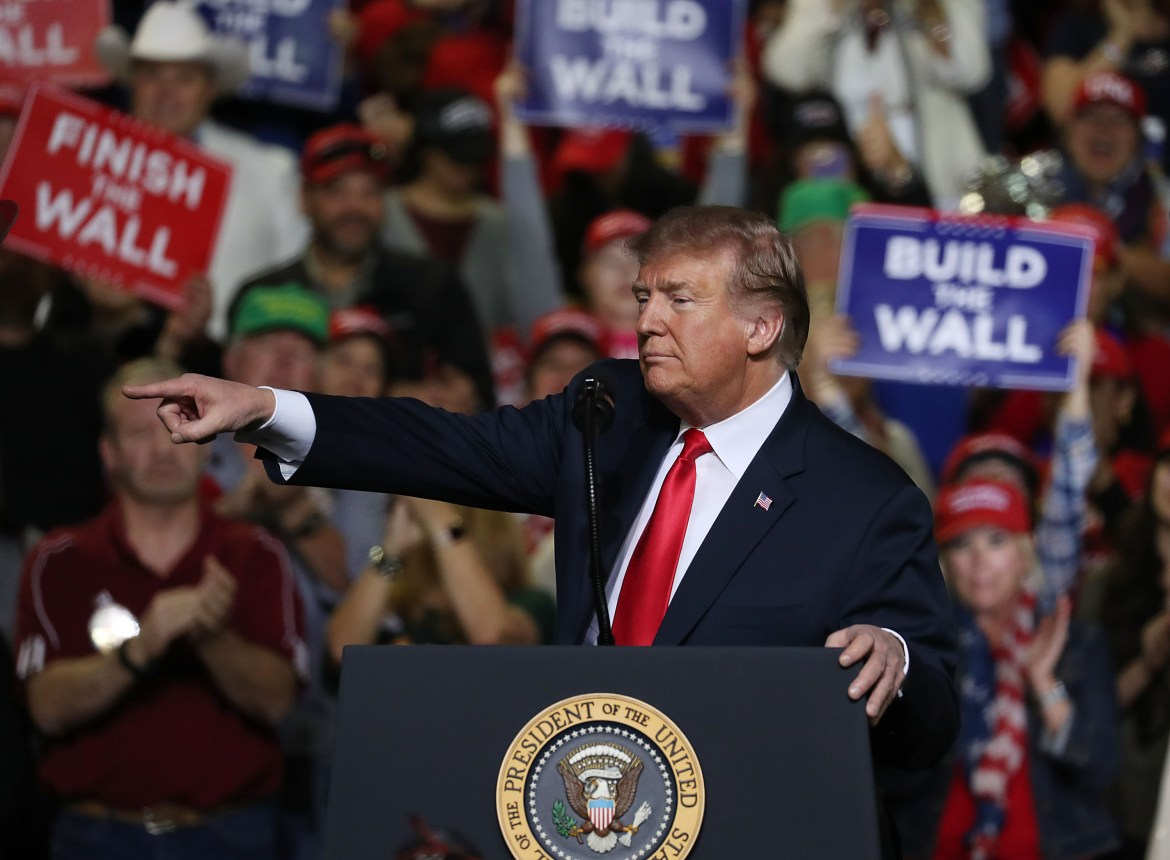EL PASO, TEXAS - FEBRUARY 11: President Donald Trump speaks during a rally at the El Paso County Coliseum on February 11, 2019 in El Paso, Texas. U.S. President Donald Trump continues his campaign for a wall to be built along the border as the Democrats in Congress are asking for other border security measures. (Photo by Joe Raedle/Getty Images)