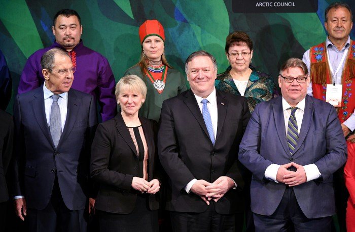 Front row from left, Foreign Ministers of Russia, Sergey Lavrov, Sweden, Margot Wallstrom, U.S. Secretary of State Mike Pompeo and Finland's Foreign Minister Timo Soini pose for a picture during the Arctic Council summit at the Lappi Areena in Rovaniemi, Finland May 7, 2019. Mandel Ngan/Pool via REUTERS
