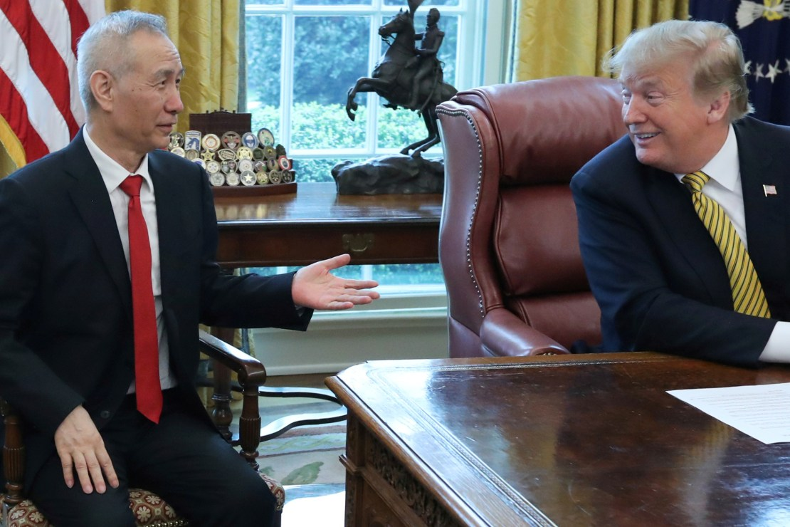 U.S. President Donald Trump meets with China's Vice Premier Liu at the White House in Washington,
