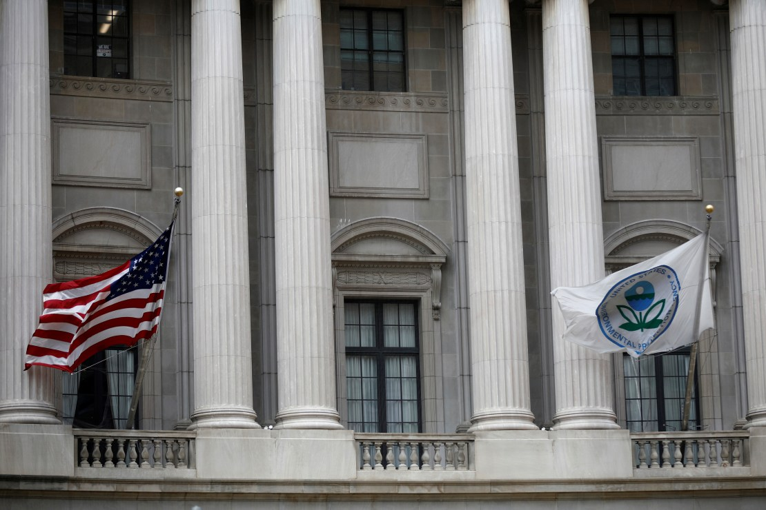 Flags fly outside the EPA headquarters in Washington
