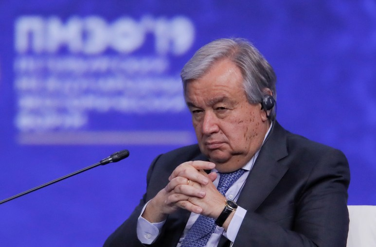 U.N. Secretary-General Antonio Guterres attends a session of the St. Petersburg International Economic Forum