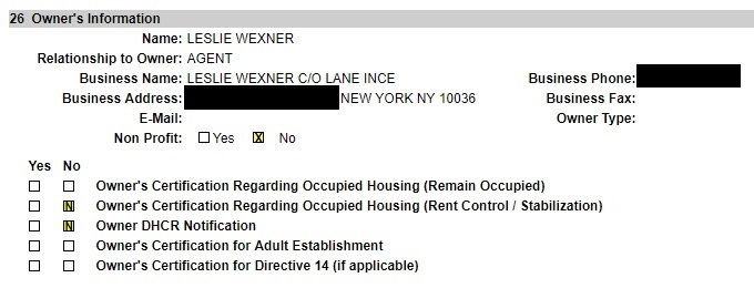 Leslie Wexner identified as the owner of Jeffrey Epstein's 9 East 71st Street property in a 2002 work permit. (Screenshot/NYC Department of Buildings)