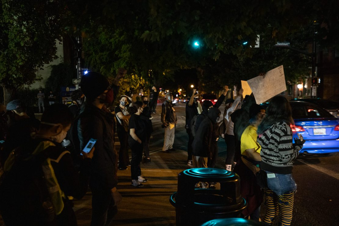 Protesters raise their fists to people driving by the park who honked and raised their fists. (Photo - Kaylee Greenlee / Daily Caller News Foundation)
