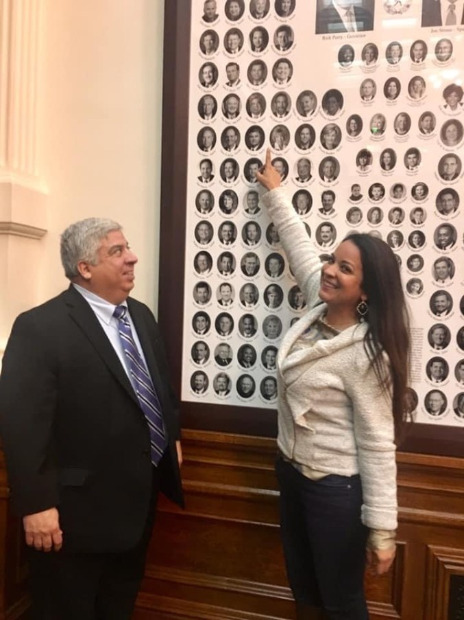 Chairwoman Adrienne Pena-Garza with her father, who served as a Texas state representative. Photo courtesy of Adrienne Pena-Garza.
