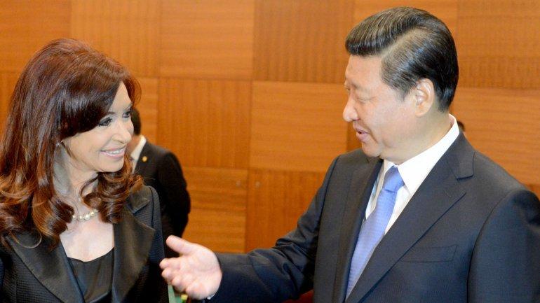 Cristina Kirchner, junto a su par chino Xi Jinping