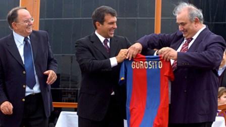 Gorosito junto al ex presidente del Barcelona FC, Joan Laporta.