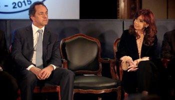 Daniel Scioli y Cristina Kirchner, durante el acto por el 161° aniversario de la Bolsa de Comercio.