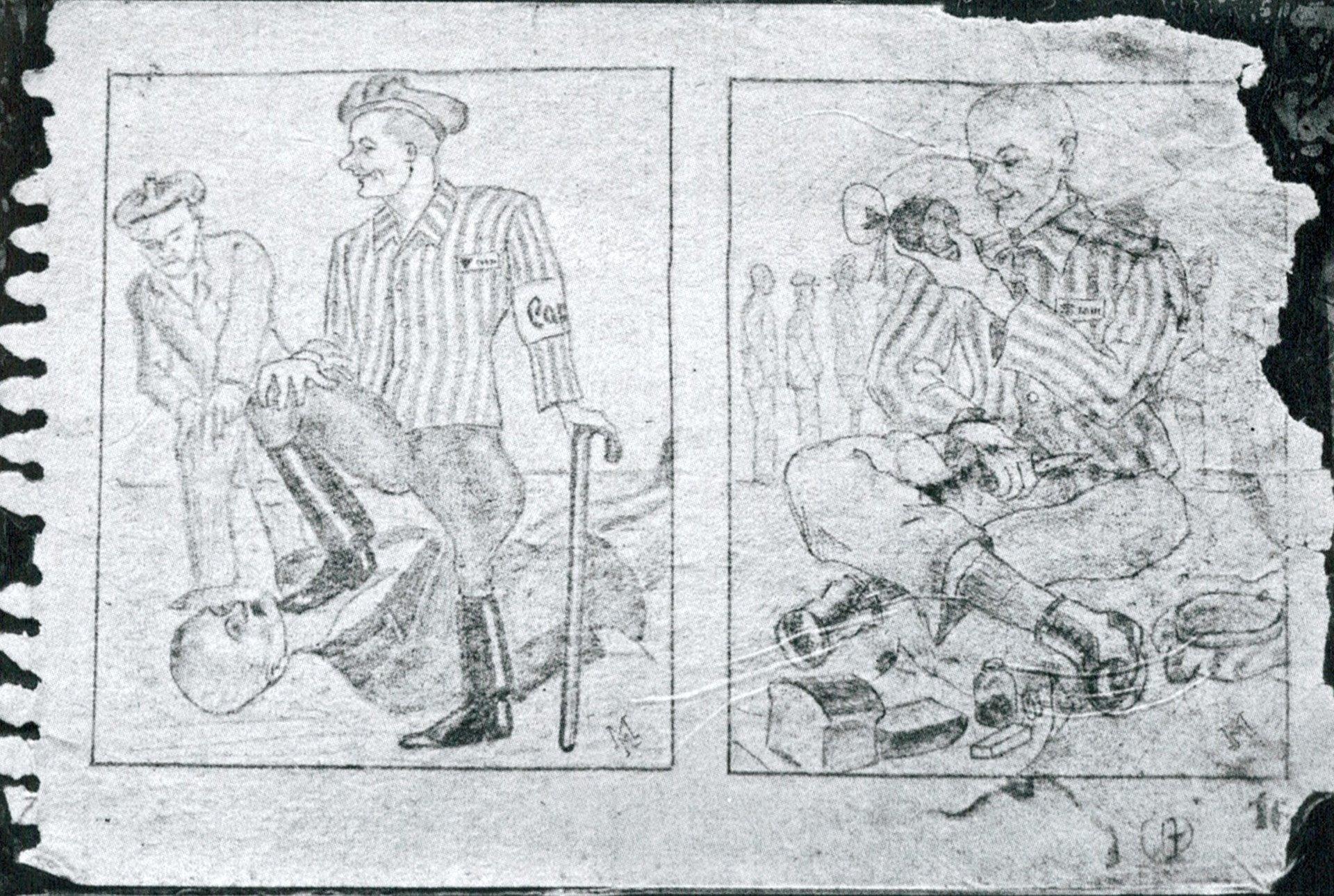 Dibujo de un preso de Auschwitz en el que se representan el poder y los privilegios de los llamados kapos