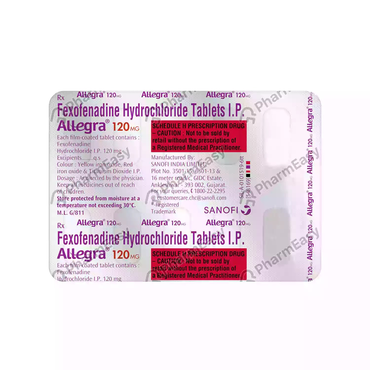 Allegra 120mg Tab - Uses. Side Effects. Dosage. Composition & Price | PharmEasy