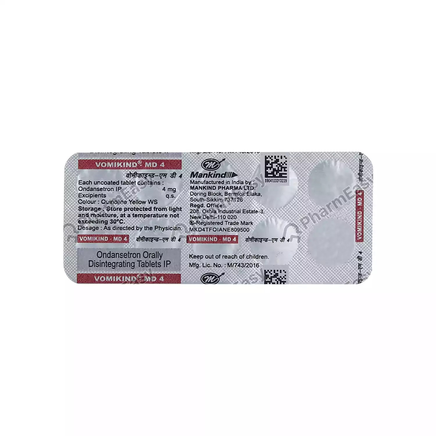 Buy Vomikind Md 4mg Tablet Online at Flat 18% OFF*   PharmEasy