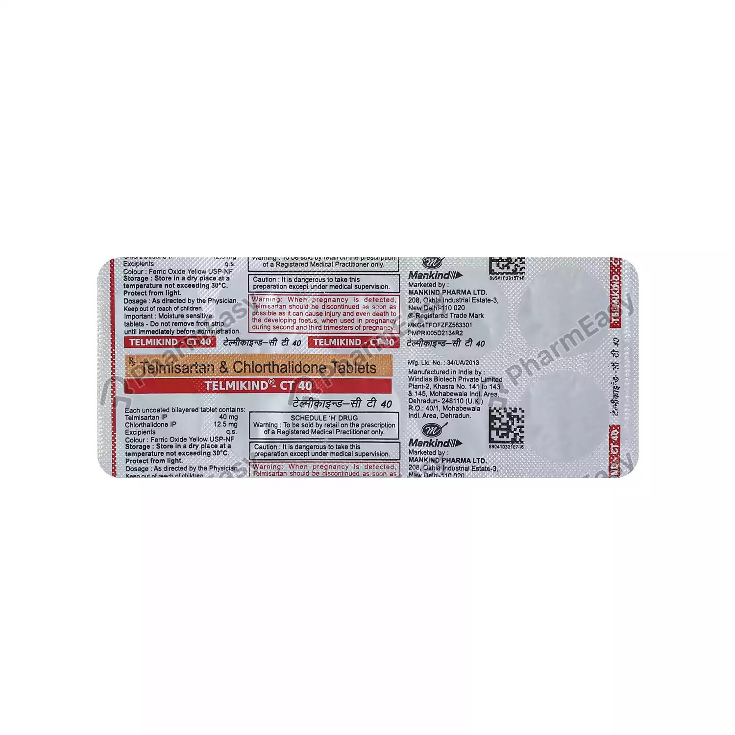Telmikind Ct 40mg Strip Of 10 Tablets - Uses Side Effects ...
