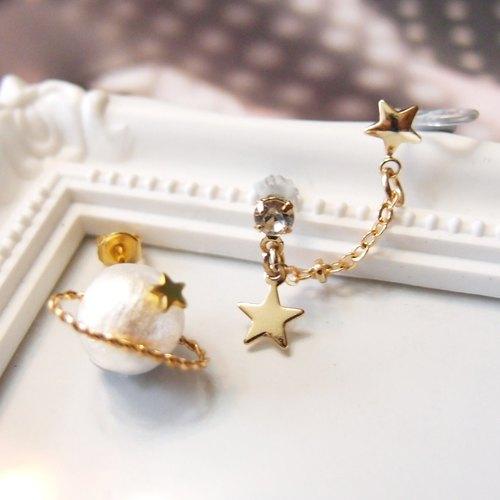 星球耳環 (多色)(耳針/耳夾)(可轉純銀耳針) - 設計師 amberinpelle | Pinkoi