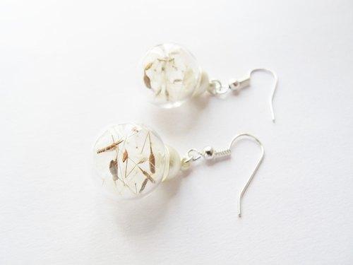 *Rosy Garden* 幸褔的歌蒲公英種子玻璃球鉤式耳環 可換耳夾式 - Rosy Garden | Pinkoi