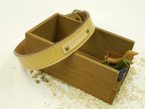 專屬訂單 - LM純手工縫製客製化項圈-植鞣革原皮色 - 革革簿錄 手創設計皮革   Pinkoi